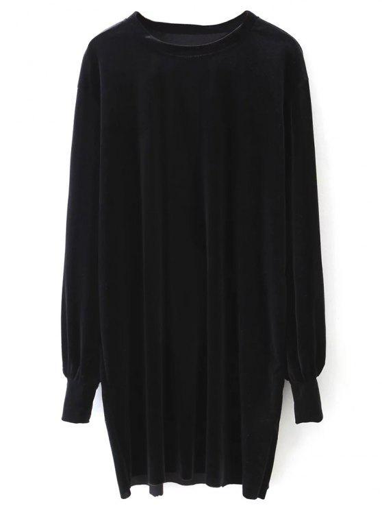 كم طويل المخملية اللباس مستقيم - أسود S