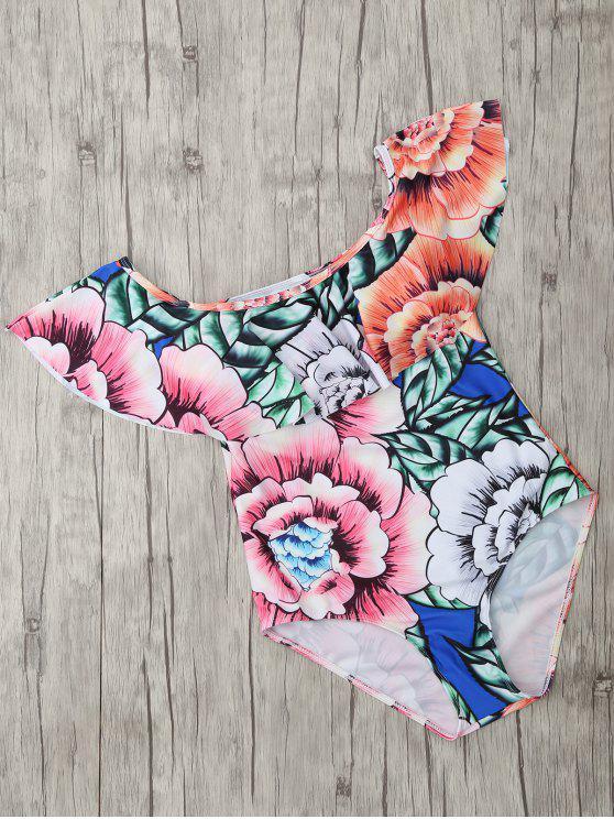 women Square Neck Floral Print One Piece Swimsuit - FLORAL L