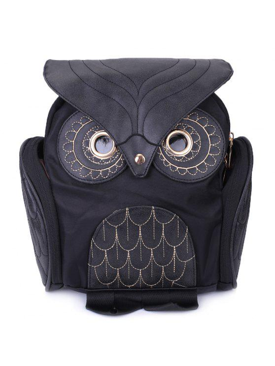 best Stylish Owl Shape Solid Color Design Women Shoulder Satchel - BLACK