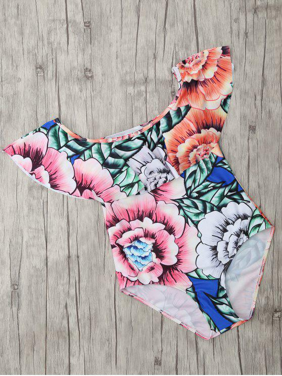 womens Square Neck Floral Print One Piece Swimsuit - FLORAL XL