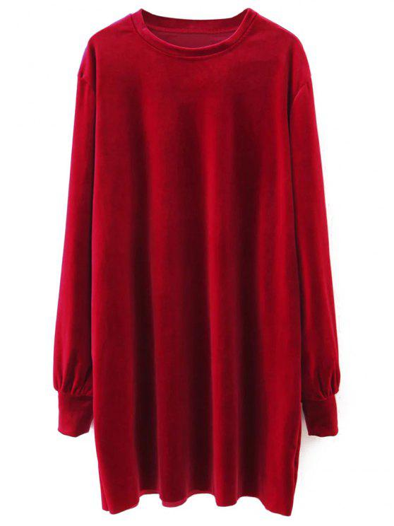 Terciopelo de manga larga vestido recto - Rojo M