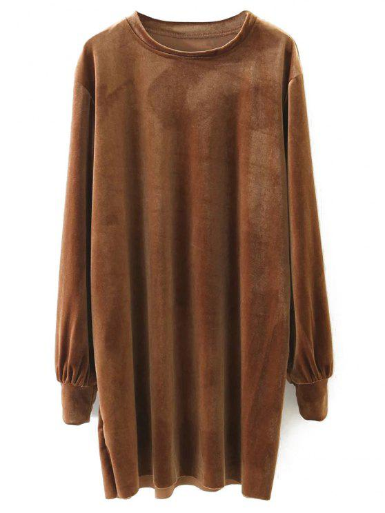 new Long Sleeve Velvet Straight Dress - BROWN M