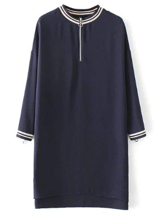outfits Half Zip High-Low Straight Dress - PURPLISH BLUE M