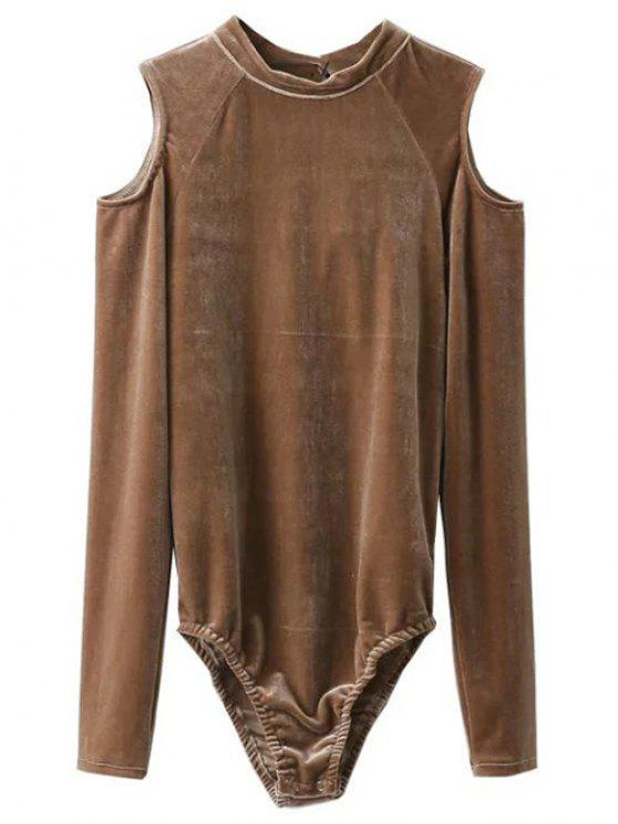 women Snap Gusset Cutout Shoulder Velvet Bodysuit - KHAKI L
