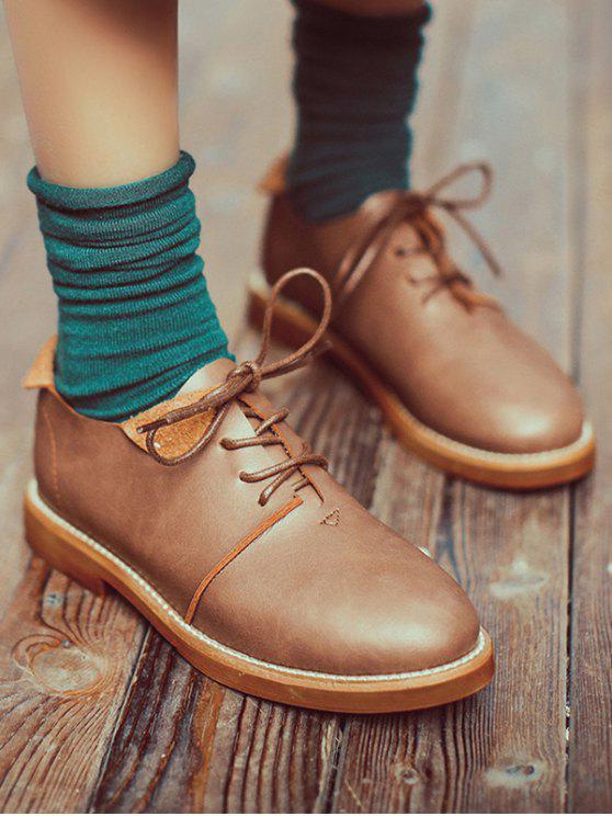 Costura atar los zapatos planos del dedo del pie redondo - Marrón Claro 38