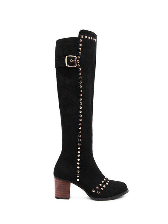 fancy Zipper Studded Buckle Strap Knee High Boots - BLACK 38