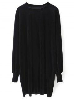 Long Sleeve Velvet Straight Dress - Black S