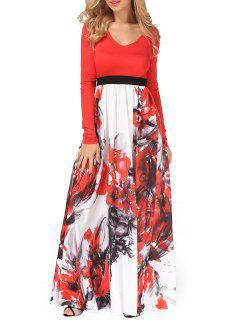Robe Maxi à Col V Motif Peinture De Fleurs - Rouge S