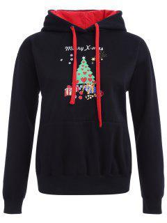 Christmas Print Pullover Hoodie - Black S