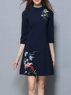 Vintage Peter Pan Collar Floral Embroidered Dress - Purplish Blue M
