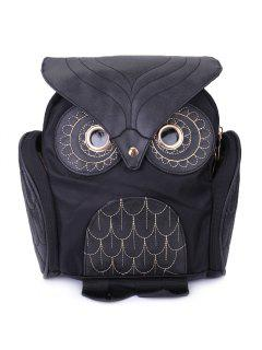Stylish Owl Shape Solid Color Design Women Shoulder Satchel - Black