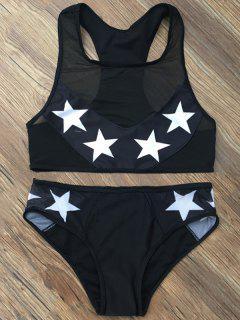 Bikini Ensemble Moulant Imprimé D'étoiles Avec Panneau De Maille - Noir S