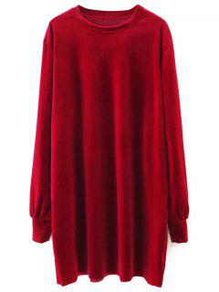Long Sleeve Velvet Straight Dress - Red M