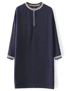 Half Zip High-Low Straight Dress - Purplish Blue S