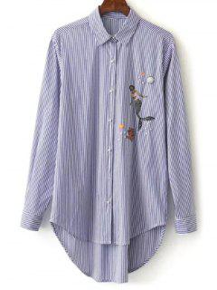 Camisa Bordada Asimétrica A Rayas - Azul M