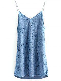 Robe à Bretelle En Velours - Bleu Léger  S