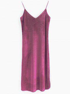 Elastic Strap Midi Velvet Dress - Russet-red M