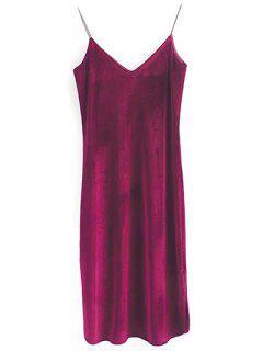 Elastic Strap Midi Velvet Dress - Wine Red S