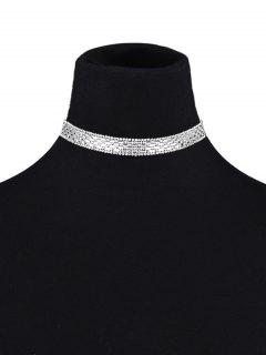 Collier Court En Cuir Artificiel Et Orné Faux Diamants - [