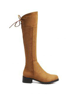 Round Toe Lace Up Chunky Heel Boots - Light Brown 38