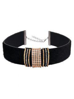 Adorn PU Leather Velvet Choker - Black