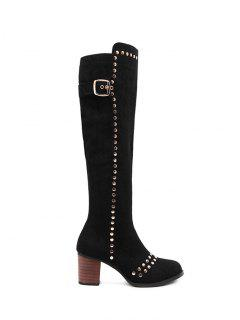 Zipper Studded Buckle Strap Knee High Boots - Black 38