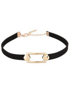 Hollow Out PU Leather Velvet Choker - Black