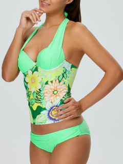 Halter Floral Push Up Padded Underwire Slimming Tankini - Green S