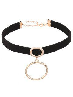 PU Leather Velvet Circle Choker - Black