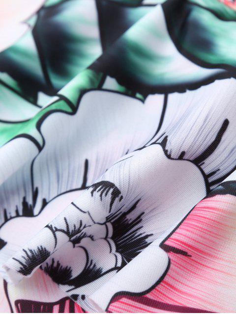 Maillot de bain one piece imprimé de fleurs à col carré - Floral S Mobile