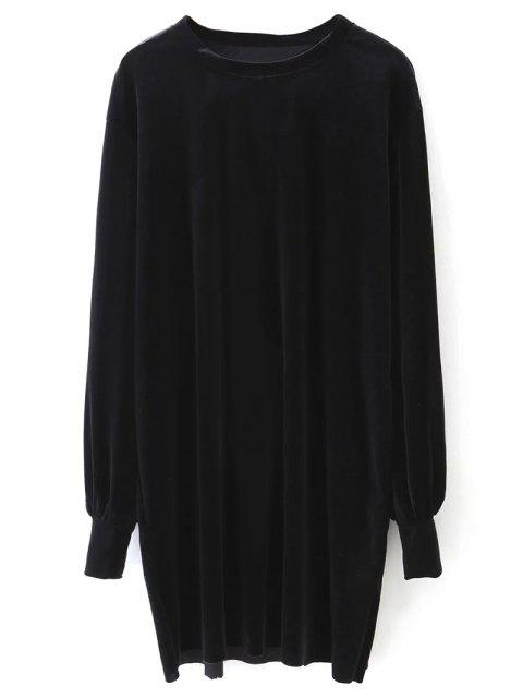 women Long Sleeve Velvet Straight Dress - BLACK M Mobile