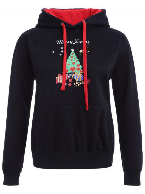 Weihnachtsdruck PulloverHoodie - Schwarz S Mobile