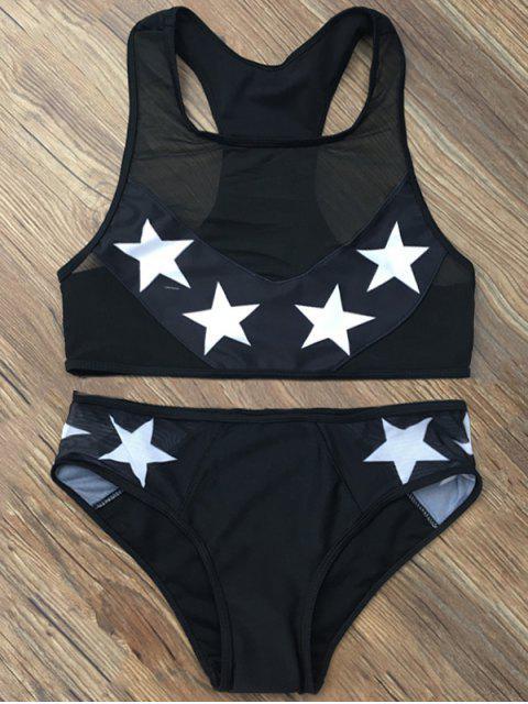 women's Star Mesh Panel Racerback Transparent Swimsuit - BLACK S Mobile