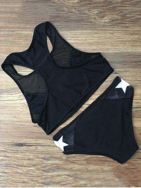 women Star Mesh Panel Racerback Transparent Swimsuit - BLACK M Mobile