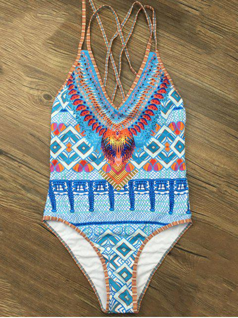 outfit Criss Cross African Tribal Print Bathing Suit - BLUE M Mobile