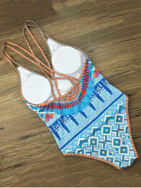 hot Criss Cross African Tribal Print Bathing Suit - BLUE L Mobile