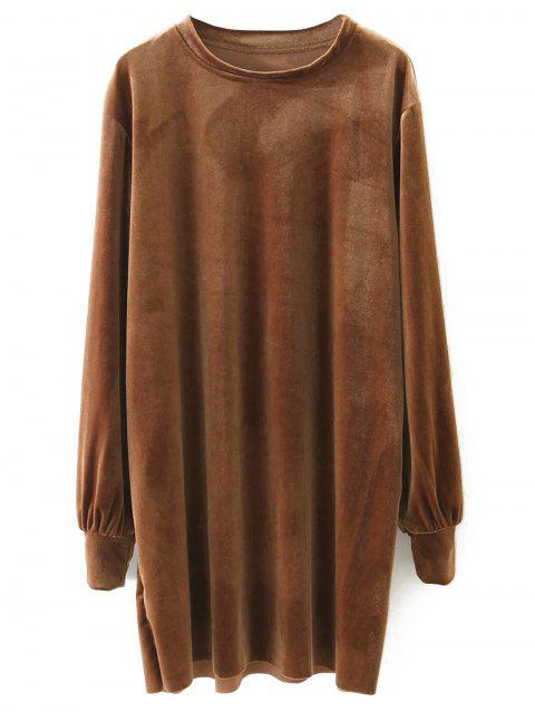 hot Long Sleeve Velvet Straight Dress - BROWN S Mobile