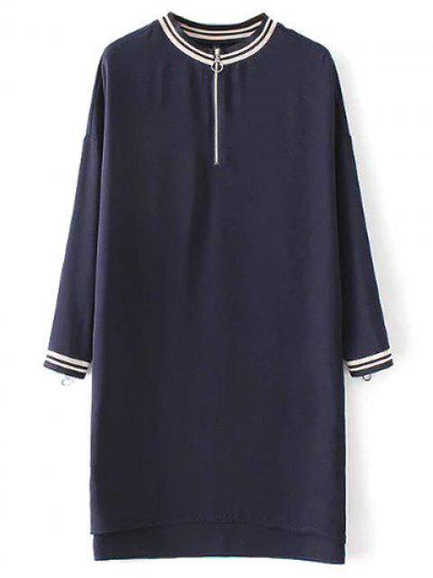 outfit Half Zip High-Low Straight Dress - PURPLISH BLUE L Mobile