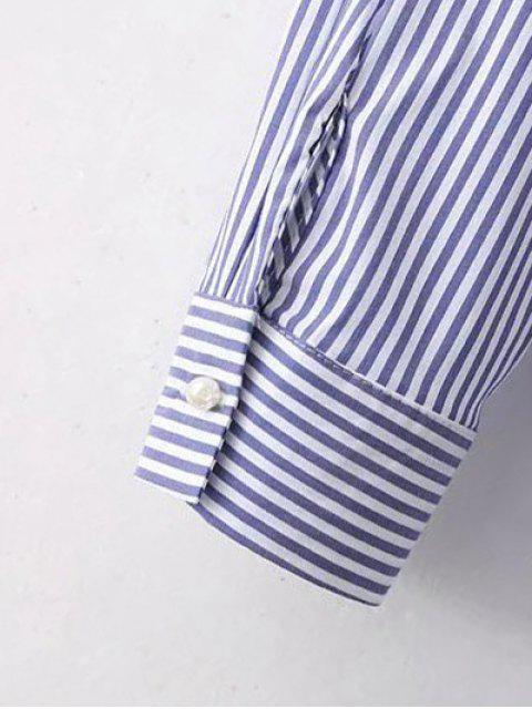 shops Embroidered High-Low Stripe Shirt - BLUE S Mobile