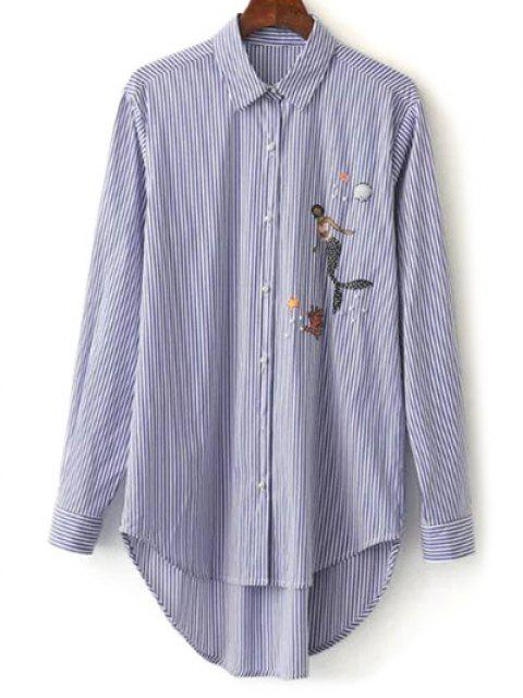 outfits Embroidered High-Low Stripe Shirt - BLUE L Mobile