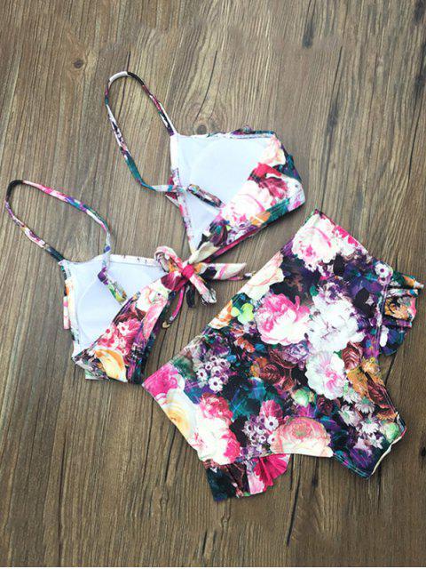 best Front Tie Floral Ruffle Hem Bikini Set - FLORAL M Mobile