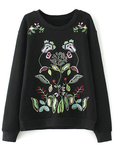 affordable Casual Embroidered Plus Size Sweatshirt - BLACK XL Mobile