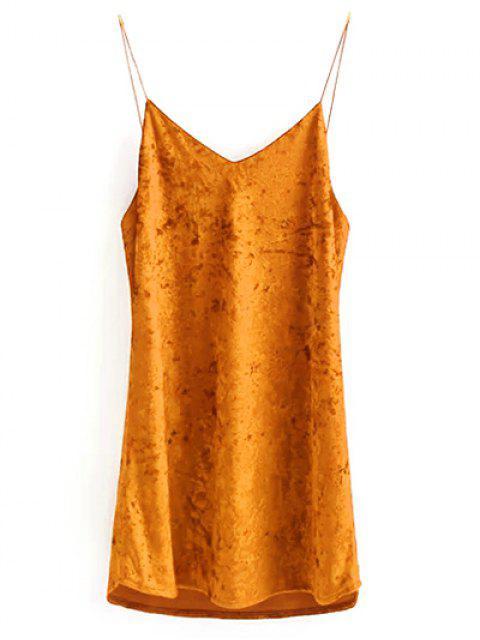 fashion Crushed Velvet Cami Dress - CITRUS M Mobile