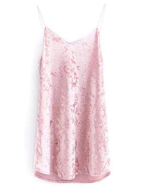 fancy Crushed Velvet Cami Dress - PINK M Mobile