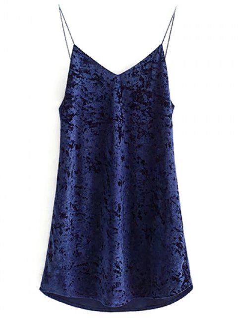 best Crushed Velvet Cami Dress - CADETBLUE M Mobile