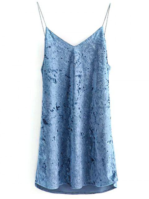 trendy Crushed Velvet Cami Dress - LIGHT BLUE M Mobile