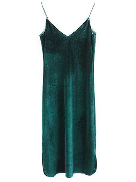 affordable Elastic Strap Midi Velvet Dress - BLACKISH GREEN M Mobile