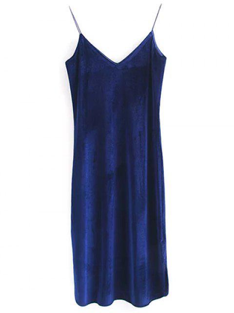 womens Elastic Strap Midi Velvet Dress - CADETBLUE M Mobile
