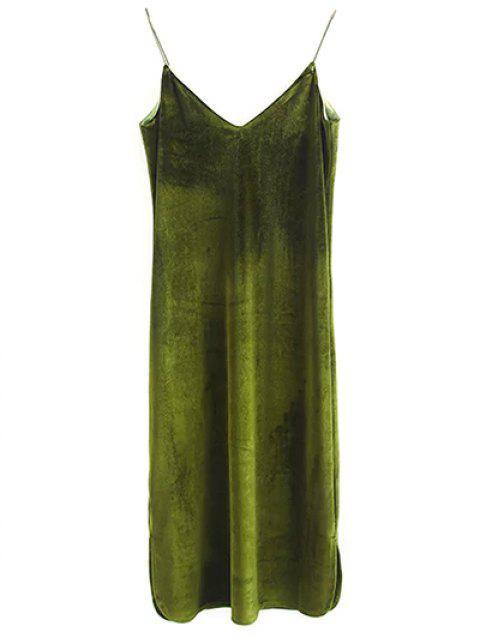 ladies Elastic Strap Midi Velvet Dress - OLIVE GREEN S Mobile