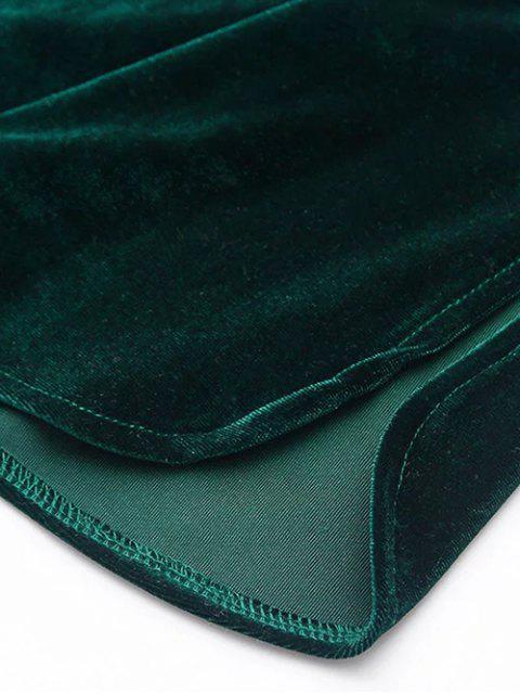 hot Elastic Strap Midi Velvet Dress - BLUE GRAY M Mobile